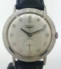 Vintage Longines 14k Solid White Gold & Diamond Dial Watch - Caliber 370