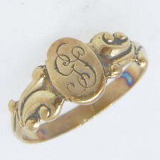 Vintage Antique 9ct Rose Gold Monogrammed Childs Babies Band Estate Ring