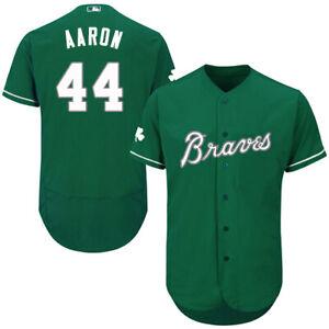 Atlanta Braves #44 Hank Aaron Green Baseball Jersey Fanmade Size XS-4XL
