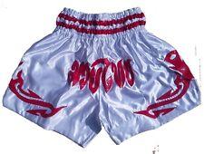 Muay Thai Shorts  White Satin Silk Large