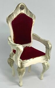 DOLLHOUSE MINIATURE WOODEN ARMCHAIR RED VELVET CHADWICK MILLER FRENCH PROVINCIAL