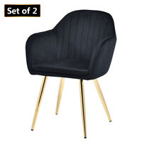 2PCS Velvet Dining Chairs Modern Accent Leisure Chair Upholstered Side Armchair