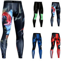 Men Athletic Compression Long Pants Under Base Layer Spandex Gym Tights Cool Dry