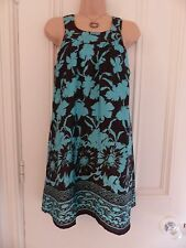 Gorgeous Apricot size S brown silky tunic dress with duck egg flowers, racerback