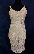 Sebo Paris Nude Sequin Crochet Gatsby Flapper Dress 1920's Costume Tan Small