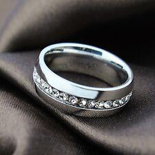 titanium simple gold cz surround wedding ring engagement band size O    ald1292
