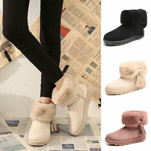 Winter Womens Rabbit Fur Snow Boots Fur Warm Cotton Booties Flip Thick Shoes