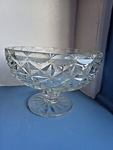 Antique Edwardian CUT GLASS TRIFFLE BOWL ON STAND