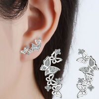 Women Fashion Silver Crystal Butterfly Ear Stud Earrings Elegant Party Jewelry