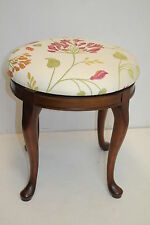 French  Circular Swivel Vanity Piano Side Bench with Unique Fabric on, c1930s'