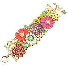 Betsey Johnson GARDEN PARTY Flower Charm Wide Statement Bracelet NEW