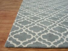 Brand New Riyana Scroll Porcelain Blue Handmade Moroccan Woolen Area Rug Carpet