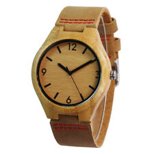 Bamboo Wood Case Men Electronic Quartz Watches Japan MOVT Leather Band Wood Dial