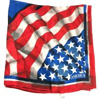 Vintage ALL SILK Perry Ellis Flag Scarf America Bold Stars & Stripes JAPAN