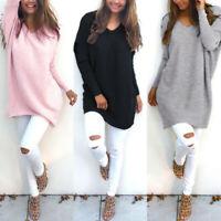 Mode Femme Belle Manche Longue Col V Casual en vrac Loisir Haut Shirt Tops Plus