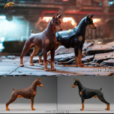 JXK 1/12 Dobermann Figure Dog Pet Animal Model Collector GK Doberman Toy Decor