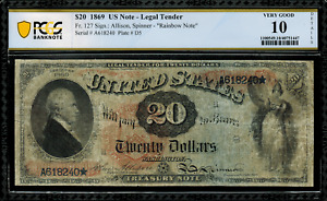 1869 $20 Legal Tender FR-127 - RAINBOW - Graded PCGS 10 Details - Very Good