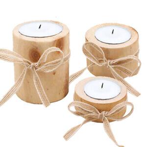 Candlestick Tealight Stand Wooden Candle Holder Flower Home Wedding Decor