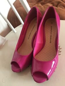 Dorothy Perkins Magenta Pink Patent Heels Shoes Size 3