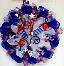 Sky Rockets In Flight Patriotic Deco Mesh Wreath