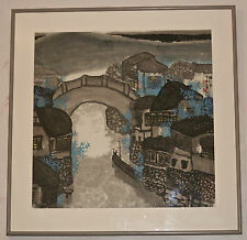 """Contemporary Chinese Watercolor Painting """"Village Scene"""" by Tan Tianren 80's"""