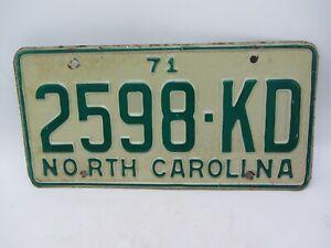 VTG ORIGINAL 1971 NORTH CAROLINA NC LICENSE PLATE TAG 2598-KD GREEN