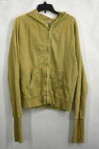 VTG Lucky Brand Womens Green Zip Front Hooded Jacket Cotton Long Cuffs Sz Large