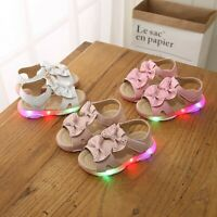 Children Kids Baby Girls Bowknot Led Light Luminous Sport Sandals Sneaker Shoes