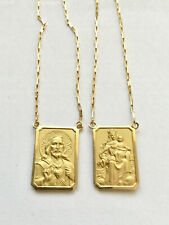 18k Gold Scapular Lady of Carmel with heart of Jesus Large Medal chain 1mm