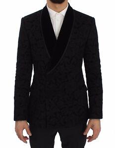 DOLCE & GABBANA Blazer Jacket Black Floral Ricamo Slim IT50 / US40 / L