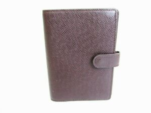 Auth LOUIS VUITTON Taiga Bordeaux Leather Small Ring Agenda Cover #8559