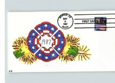 Hand Painted FIREWORKS Over FLAG, 1987 First Day of Issue