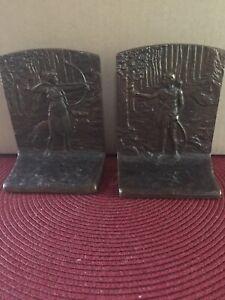 Bronze JUDD Bookends DIANA THE HUNTRESS w/Borzoi Dog Rare Pair