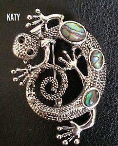 Crystal Chameleons Lizard Brooch Abalone Paua Shell Vintage Silver Tone Pin Gift
