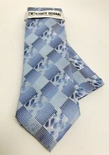 Stacy Adams Men's Tie & Hanky Set Powder Blue Navy & Silver Microfiber Hand Made