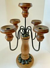 Vintage Mcm Homco Wood & Wrought Iron Candelabra 5 Arm Candle Holder Gothic
