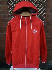 MANCHESTER UNITED FOOTBALL CLUB MENS UK SIZE MEDIUM RED & WHITE HOODED JACKET