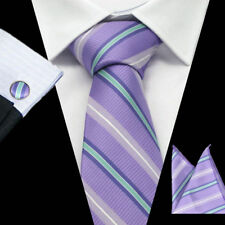 100% Pure Silk Neck Tie Cuff-links & Handkerchief Set Purple Grey Green Stripes