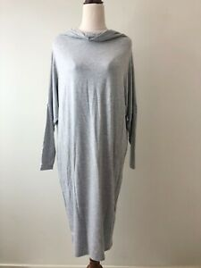 INTIMO Size S Grey Marble Modal Convertible Long Sleeve Midi Stretch Dress BNWT