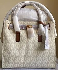 NWT Authentic MICHAEL KORS Hamilton Large Logo PVC Tote Handbag $348 Vanilla