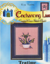 Enchanting Lair Teatime Dragon Sleeping Elf Counted Cross Stitch Pattern