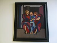 MID CENTURY MODERN 1954 OIL PAINTING  EXPRESSIONISM MODERNISM ABSTRACT CUBISM