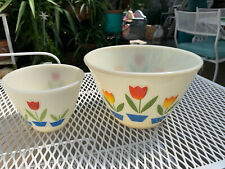 """Vintage Fire King Tulip Mixing Bowls 8 1/2"""" plus 5 1/2"""" Oven Ware Freebie"""