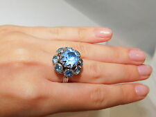 Gorgeous Vintage Emmonds Blue Topaz Rhinestone Cluster Adjustable Ring 5g 11
