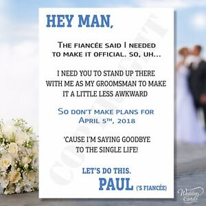 Will you be my Groomsman Card Best Man Usher Invites Cards Funny Bro Dude Mate