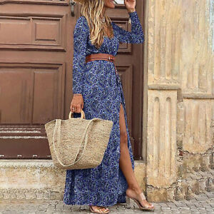 Women Paisley Long Sleeve Split Holiday Dress Boho Vintage Maxi Ladies Dress