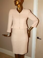 Chanel 38/40 EURO Nude Block Tweed 2pc Skirt Suit France