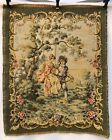 French Antique Wall Hanging Tapestry of Girl on Swing with Boy, 1900s