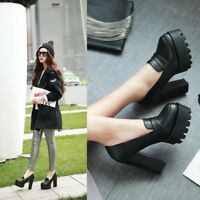 Women Platform Slip On Loafers High Block Heels Mary Janes Pumps Shoes Spring Sz