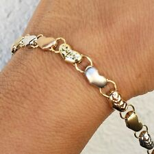 14k gold hearts Bracelet 7.25 inch Long christmas gift